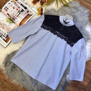 Zara Pinstriped Blue Lace Yoke 3/4 Sleeve Top Xs